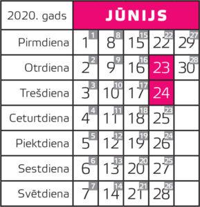 2020. gada jūnija kalendārs